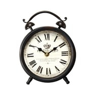 AdecoTrading Vintage-Inspired Roman Numerals ''Paris 1925'' 3.2'' Alarm Hanging or Table Top Clock