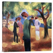 Global Gallery Lady in a Green Jacket by August Macke Painting Print on Wrapped Canvas