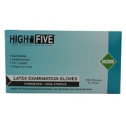 High Five Products Inc Latex Gloves, Medium, Natural, 100/Pack