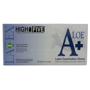 High Five Products Inc A+ Aloe Latex Gloves, Medium, 100/Pack