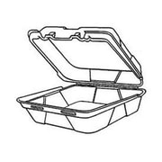 Genpak Snap-It Foam Hinged Carryout Medium Container with 1 Compartment in White