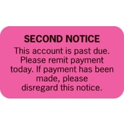 Collection and Notice Collection Labels, Second Notice, Fluorescent Pink, 0.875 x 1.5 inch, 500 Labels