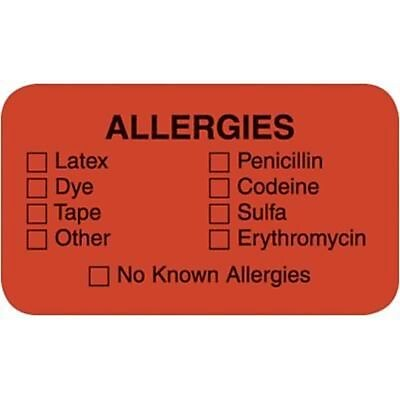 Allergy Warning Medical Labels Allergies 0.875 x 1.5 inch 500 Labels