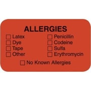 Allergy Warning Medical Labels, Allergies, 0.875 x 1.5 inch, 500 Labels