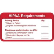 Patient Record Medical Labels, HIPAA Requirements, Red and White, 1.25 x 3.25 inch, 500 Labels