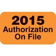 "Patient Record Labels, Fluorescent Orange, Large ""2015 Authorizations On File"""