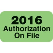 "Medical Arts Press® Patient Record Labels; Large ""2016 Authorizations On File"""
