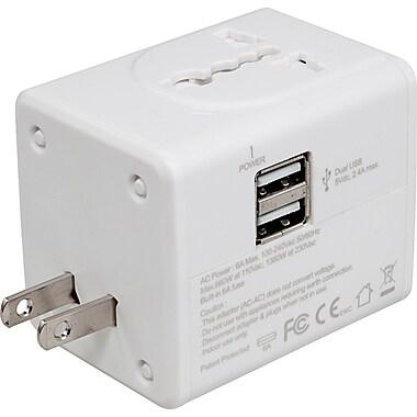 PurTek – Adaptateur universel de voyage à doubles ports USB 2.4A (PTTA2USB24)