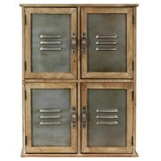Urban Trends Wood Cabinet with 4 Metal Doors with Vents and Handles Natural Wood Finish