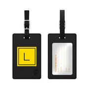 Centon OTM Monogram Leather Bag Tag, Inversed, Black, Electric L