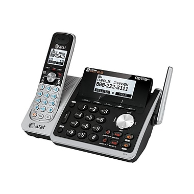 AT&T TL88102 2 Line Cordless Answering System, Silver/Black