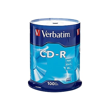 Verbatim® 700MB 52x White CD Recordable Media, 100/Pack