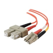C2G® 6.56' LC Male To SC Male 62.5/125 OM1 Multimode Duplex Fiber Optic Cable, Orange