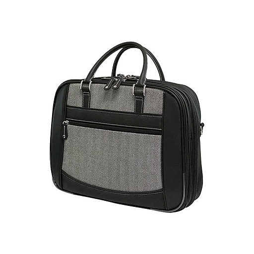 Mobile Edge ScanFast Black/White Faux-Leather Large Briefcase For 16  Laptop.