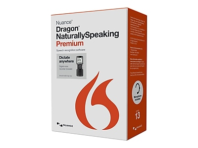 Nuance Dragon NaturallySpeaking v.13.0 Premium Mobile Edition Software 1 User Windows DVD ROM
