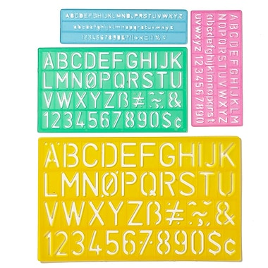 C-THRU 4-Piece Lettering Guide, Uppercase, Letters and Numbers, 6 Sets/Pack