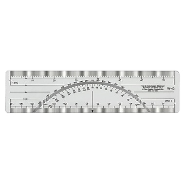 """C-THRU Metric Protractor Ruler with 1:500 and 1:1000 Scale, 15cm/6"""", 12/Pack"""