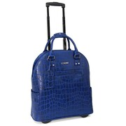 "Cabrelli & Co. 15.6"" Desert Croco Rolling Laptop Bag, Cobalt"