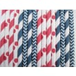 Creative Juice Cafe Striped Chevron and Polka Dots Paper Straw (Set of 100); Patriotic