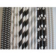 Creative Juice Cafe Stripes and Polka Dots Paper Straw Mix (Set of 100); Black and Gold