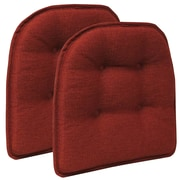 Klear Vu Omega Gripper Tufted Chair Cushion (Set of 2); Flame