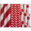 Creative Juice Cafe Stripes and Polka Dots Paper Straw Mix (Set of 100); Red