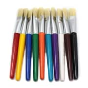 Charles Leonard Brush Set with Flat Stubby Handle, 10/Pack
