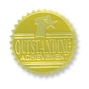 Flipside Gold Foil Embossed Seal, Outstanding Achievement, 54/Pack