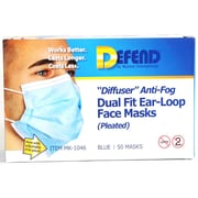 "Defend® Anti-Fog ""Diffuser"" Pleated Face Mask With Ear Loop, Blue"