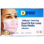"Defend® Anti-Fog ""Diffuser"" Pleated Face Mask With Ear Loop, Pink"