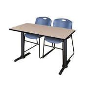 Regency 48-inch Laminate Metal & Wood Cain Training Table with Zeng Stack Chairs, Blue