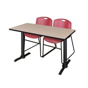 Regency 48-inch Laminate Metal & Wood Cain Training Table with Zeng Stack Chairs, Burgundy