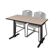 Regency 48-inch Laminate Metal & Wood Cain Training Table with Zeng Stack Chairs, Gray