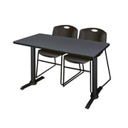 Regency Cain 48'' Rectangular Training Table and Chairs, Gray w/ Zeng Chairs (MTRCT4824GY44BK)