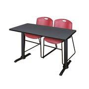 """Regency Cain 48"""" x 24"""" Training Table, Gray and 2 Zeng Stack Chairs, Burgundy (MTRCT4824GY44BY)"""