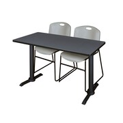 Regency Cain 48'' Rectangular Training Table and Chairs, Gray w/ Zeng Chairs (MTRCT4824GY44GY)