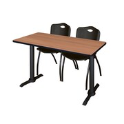 Regency 48-inch Wood & Metal Cain Computer Table with Stack Chairs, Black
