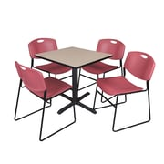 Regency Training & Hospitality 30-inch Square Laminate Table with 4 Chairs, Burgundy