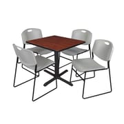 Regency 30-inch Square Laminate Table with Chairs, Gray