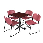 Regency 30-inch Laminate Square Table with 4 Chairs, Mahogany & Burgundy