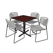 Regency 30-inch Laminate Square Table with 4 Chairs, Mahogany & Gray