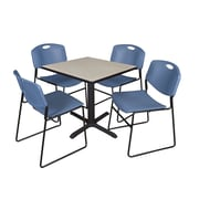 Regency 30-inch Square Table with 4 Chairs, Maple & Blue