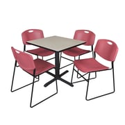Regency 30-inch Square Table with 4 Chairs, Maple & Burgundy