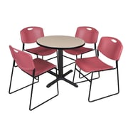 Regency 30-inch Round Table with 4 Chairs, Beige & Burgundy