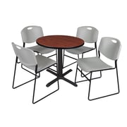 "Regency Cain 30"" Round Break Room Table, Cherry and 4 Zeng Stack Chairs, Gray (TB30RNDCH44GY)"