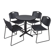 "Regency Cain 30"" Round Break Room Table, Gray and 4 Zeng Stack Chairs, Black (TB30RNDGY44BK)"