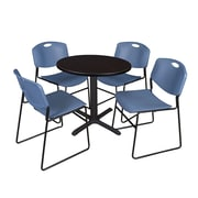 "Regency Cain 30"" Round Breakroom Table, Mocha Walnut and 4 Zeng Stack Chairs, Blue (TB30RNDMW44BE)"