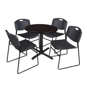 "Regency Cain 30"" Round Break Room Table, Mocha Walnut and 4 Zeng Stack Chairs, Black (TB30RNDMW44BK)"