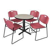 "Regency Cain 30"" Round Break Room Table, Maple and 4 Zeng Stack Chairs, Burgundy (TB30RNDPL44BY)"