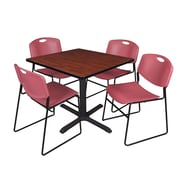 "Regency Cain 36"" Square Break Room Table, Cherry and 4 Zeng Stack Chairs, Burgundy (TB3636CH44BY)"